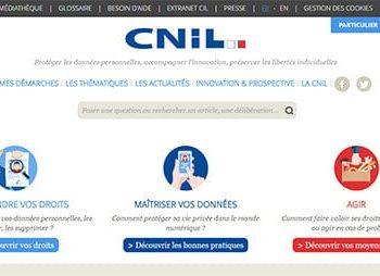 Page d'accueil du site de la CNIL